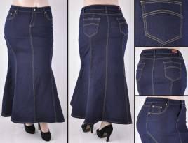 Faldas Largas Mayoreo SG-87224X Dark Indigo Wholesale Plus Size Long Skirts Nantlis