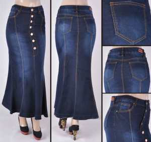 Faldas Largas Mayoreo SG-87243 Dark Indigo Wholesale Long Skirts