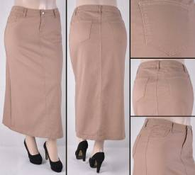 Faldas Largas Mayoreo SG-87266X-18 Khaki Wholesale Plus Size Long Skirts Nantlis