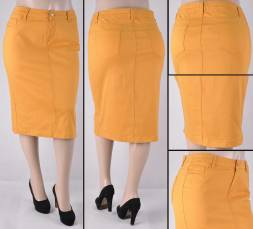 Faldas Mayoreo SG-76418X(B)-115 Mustard Wholesale Plus Size Skirts Nantlis