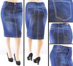 Faldas Mayoreo SG-77247X Dark Indigo Wholesale Plus Size Skirts