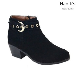 AN-Halo-8k Black Botas de nina Mayoreo Wholesale girls Boots Nantlis