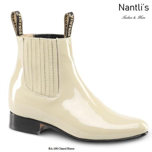 BA100 Charol Hueso Botines Charros Equestrian Paddock Boots Nantlis