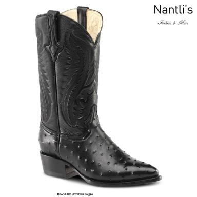 BA51305 Ostrich Black Botas Vaqueras Western Boots Nantlis