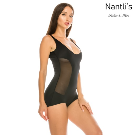 Nantlis YM70209-BLACK faja malla leotardo Mesh Body shaper suit front