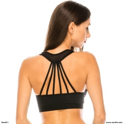 Nantlis YMSB60058 Top Black back Sports Bra Active wear