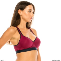 Nantlis YMSB60058 Top Burgundy side Sports Bra Active wear