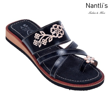 Huaraches Mayoreo TM35163 Black Huaraches Mexicanos de Mujer Women Mexican Sandals Nantlis Tradicion de Mexico
