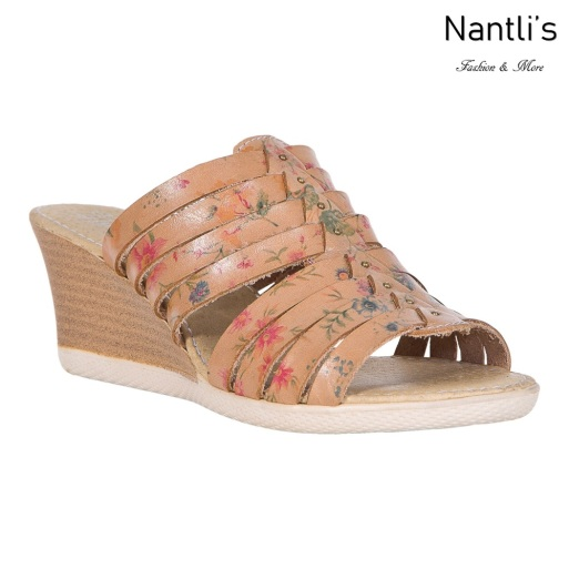 Huaraches Mayoreo TM35215 Natural Flowers Huaraches Mexicanos de Mujer Women Mexican Wedges Sandals Nantlis Tradicion de Mexico
