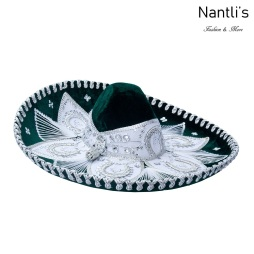 Sombrero Charro Mayoreo TM71160 Green-Silver Sombrero Charro Nantlis Tradicion de Mexico