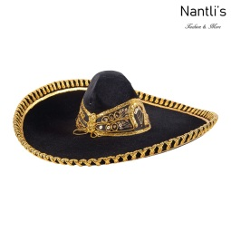 Sombrero Charro Mayoreo TM71161 Black-Gold Sombrero Charro Nantlis Tradicion de Mexico