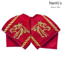Moños Charros Mayoreo TM72417 Red-Gold Moño bordado de charro Embroidered Charro Bowtie Nantlis Tradicion de Mexico