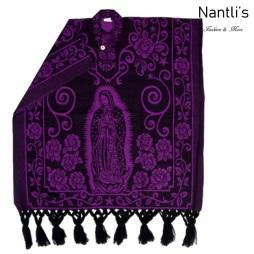Rebozo Gaban Mayoreo TM73403 Black-Purple Rebozo-Capa Mexicano Estampado de Virgen de Guadalupe 76x36 Nantlis Tradicion de Mexico