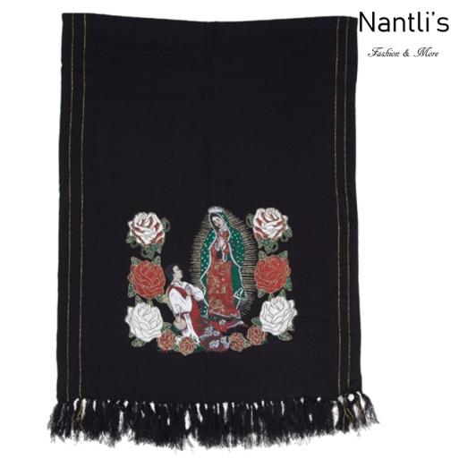 Rebozos Mayoreo TM73421 Black Rebozo Mexicano Estampado de Virgen de Guadalupe Mexican Shawl 68x25 Nantlis Tradicion de Mexico
