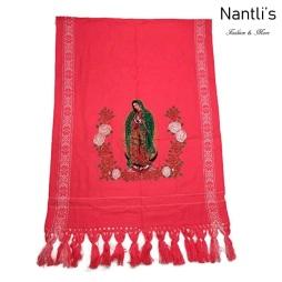 Rebozos Mayoreo TM73421 Rosa Rebozo Mexicano Estampado de Virgen de Guadalupe Mexican Shawl 68x25 Nantlis Tradicion de Mexico