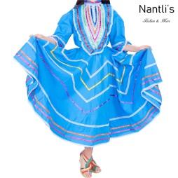 Traje tipico Mexicano Mayoreo TM74132 Blue Vestido Folklorico estilo Jalisco mujeres y ninas women and girls Nantlis Tradicion de Mexico