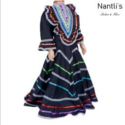 Traje tipico Mexicano Mayoreo TM74135 Black Vestido Folklorico estilo Jalisco mujeres y ninas women and girls Nantlis Tradicion de Mexico