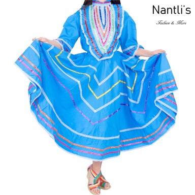 Traje tipico Mexicano Mayoreo TM74142 Blue Vestido Folklorico estilo Jalisco mujeres y ninas women and girls Nantlis Tradicion de Mexico
