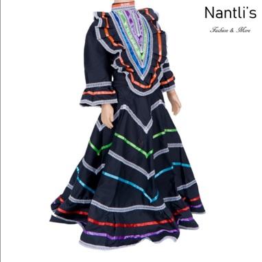 Traje tipico Mexicano Mayoreo TM74155 Black Vestido Folklorico estilo Jalisco mujeres y ninas women and girls Nantlis Tradicion de Mexico