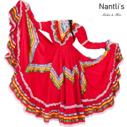 Traje tipico Mexicano Mayoreo TM74201 Red Vestido Folklorico Profesional mujeres Doble Vuelo mexican folklore dance womens dress Nantlis Tradicion de Mexico