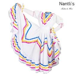 Traje tipico Mexicano Mayoreo TM74201 White Vestido Folklorico Profesional mujeres Doble Vuelo mexican folklore dance womens dress Nantlis Tradicion de Mexico
