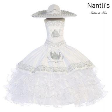 Traje de Charro Mayoreo TM76220 White-Silver Traje de Charro nina presentacion vestido chaquetin sombrero girls Nantlis Tradicion de Mexico
