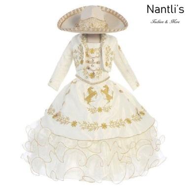 Traje de Charro Mayoreo TM76221 Beige-Gold Traje de Charro nina presentacion vestido chaquetin sombrero girls Nantlis Tradicion de Mexico