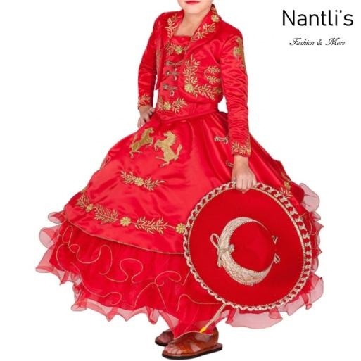 Traje de Charro Mayoreo TM76221 Red-Gold Traje de Charro nina presentacion vestido chaquetin sombrero girls Nantlis Tradicion de Mexico