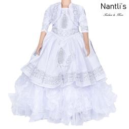 Traje de Charro Mayoreo TM76225 White-Silver Traje de Charro nina presentacion vestido chaquetin sombrero girls Nantlis Tradicion de Mexico