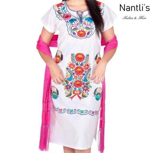Vestido Bordado Mayoreo TM77125 White Vestido Bordado de Mujer Mexican Embroidered Womens Dress Nantlis Tradicion de Mexico