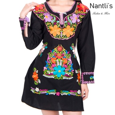 Vestido Bordado Mayoreo TM77126 Black Vestido Bordado de Mujer Mexican Embroidered Womens Dress Nantlis Tradicion de Mexico