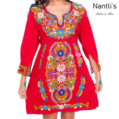 Vestido Bordado Mayoreo TM77127 Red Vestido Bordado de Mujer Mexican Embroidered Womens Dress Nantlis Tradicion de Mexico