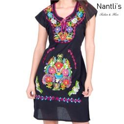 Vestido Bordado Mayoreo TM77129 Black Vestido Bordado de Mujer Mexican Embroidered Womens Dress Nantlis Tradicion de Mexico