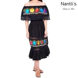 Vestido Bordado Mayoreo TM77130 Black Vestido Bordado de Mujer Mexican Embroidered Womens Dress Nantlis Tradicion de Mexico