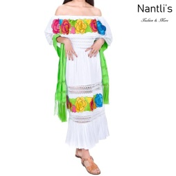 Vestido Bordado Mayoreo TM77131 White Vestido Bordado de Mujer Mexican Embroidered Womens Dress Nantlis Tradicion de Mexico