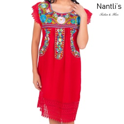 Vestido Bordado Mayoreo TM77138 Red Vestido Bordado de Mujer Mexican Embroidered Womens Dress Nantlis Tradicion de Mexico