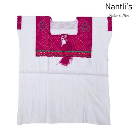 Blusa Bordada Mayoreo TM77201 White-Fuchsia Blusa Bordada de manta Mujer Mexican Embroidered Blouse Nantlis Tradicion de Mexico