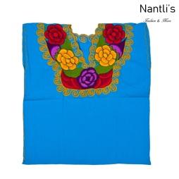 Blusa Bordada Mayoreo TM77212 Blue Blusa Bordada de manta Mujer Mexican Embroidered Blouse Nantlis Tradicion de Mexico