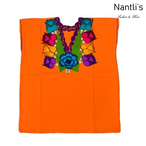 Blusa Bordada Mayoreo TM77212 Orange Blusa Bordada de manta Mujer Mexican Embroidered Blouse Nantlis Tradicion de Mexico