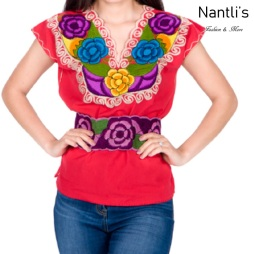 Blusa Bordada Mayoreo TM77212 Red Blusa Bordada de manta Mujer Mexican Embroidered Blouse Nantlis Tradicion de Mexico