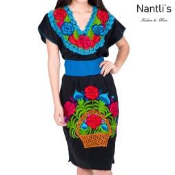 Vestido Bordado Mayoreo TM78011 Black Vestido Bordado de Mujer Mexican Embroidered Womens Dress Nantlis Tradicion de Mexico