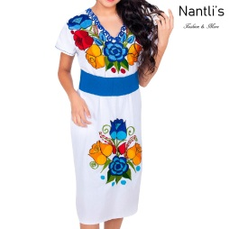 Vestido Bordado Mayoreo TM78013 White Vestido Bordado de Mujer Mexican Embroidered Womens Dress Nantlis Tradicion de Mexico