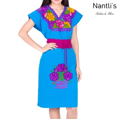 Vestido Bordado Mayoreo TM78014 Blue Vestido Bordado de Mujer Mexican Embroidered Womens Dress Nantlis Tradicion de Mexico