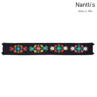 Cinturon Bordado Mayoreo TM78051 Black Cinturon Bordado Mexicano de Mujer Mexican Embroidered Belt for women Nantlis Tradicion de Mexico
