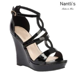 BL-Alle-11 Black Zapatos de Mujer Mayoreo Wholesale Women Shoes Wedges Nantlis