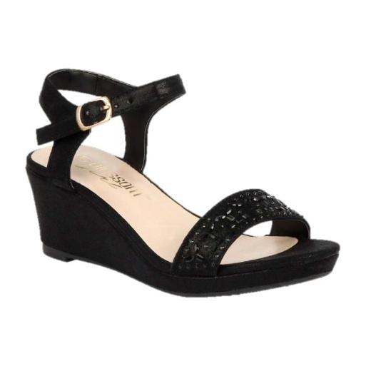 BL-K-Christy-43 Black Zapatos de niña Mayoreo Wholesale Girls Wedges Kids Shoes Nantlis