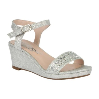 BL-K-Christy-43 Silver Zapatos de niña Mayoreo Wholesale Girls Wedges Kids Shoes Nantlis
