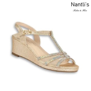 BL-K-Christy-44 Gold Zapatos de niña Mayoreo Wholesale Girls Wedges Kids Shoes Nantlis