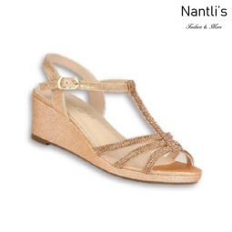 BL-K-Christy-44 Rose Gold Zapatos de niña Mayoreo Wholesale Girls Wedges Kids Shoes Nantlis