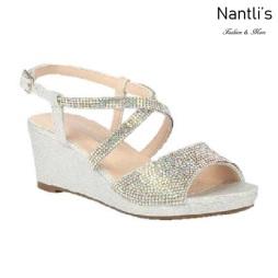 BL-K-Christy-46 Silver Zapatos de niña Mayoreo Wholesale Girls Wedges Kids Shoes Nantlis